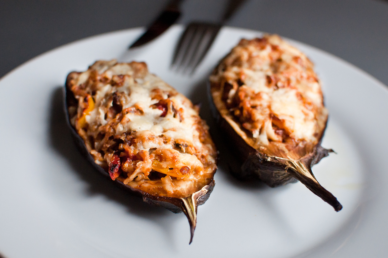Stuffed Eggplants with Bulgur