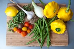 Pattypan Squash Green Beans Tomatoes Herbs