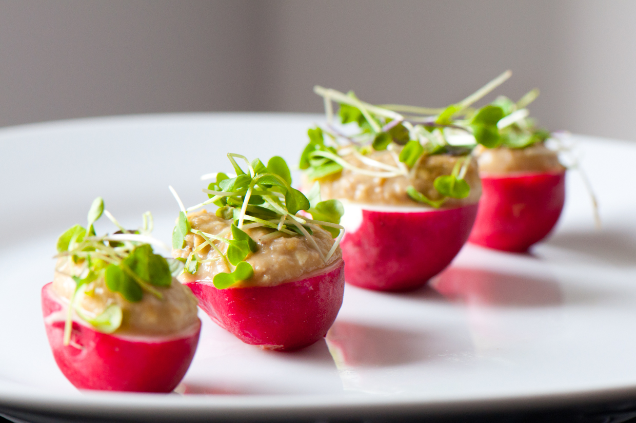 Radish With Lentil Hummus And Sprouts